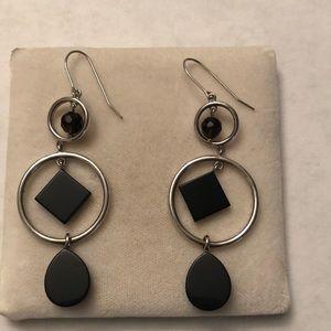 Onyx dangle sterling silver earrings